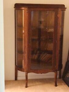 Atq Oak & Curved Glass CURIO CABINET w 4 Shelves Original Key1800's Display Case