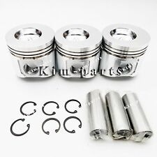 New 3 Sets Std Piston W Ring for John Deere 4475 Skid Steer