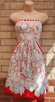 TEEZE ME WHITE RED CROCHET LACE TRIM BLUE FLORAL BELTED SKATER TEA DRESS 6 8 XS