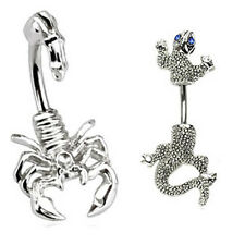 2 Belly Button Rings Scorpion Lizard Chameleon Dragon Steel Navel 14g gauge blue