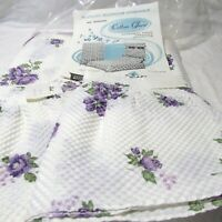 VINTAGE TWIN SIZE BEDSPREAD PERMANENT EMBOSSED COTTON w/2 WINDOW VALANCES NEW IP