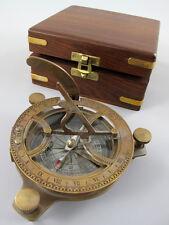 Kompass Peilkompass aus Messing Tischkompass inkl. Sonnenuhr in edler Holzbox /5