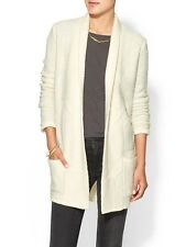 BCBG MAXAZRIA Women Ginata Shawl Oversized Sweater Cardigan Outwear Coat White