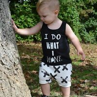 2pcs Toddler Kids Baby Boy Cool Sleeveless T-shirt Tops+Pants Clothes Outfit Set