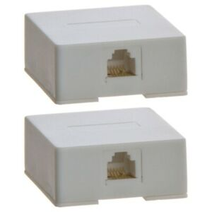 2x 1 Port Telephone Phone Surface Mount Box Wall Plate Jack RJ12 RJ11 6P6C White