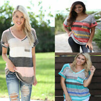 Womens Short Sleeve T-Shirt V-Neck Casual Shirts Tops Stripe Tee Blouse