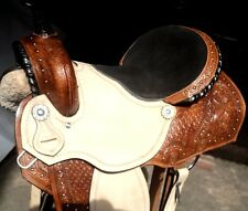 "16""western tack trail pleasure all purpose leather horse cowboy rodeo saddle"