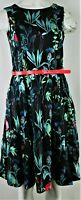 Tommy Hilfiger Women's Green Belted Floral-Print Dress