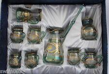 Egyptian glass tea/coffee set, including pot, milk jug, sugar basin, 6 cups.