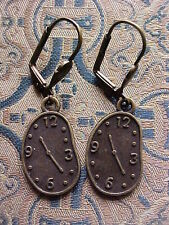 Bronze  Antiqued Dali Clock face Lever Back  Earrings steampunk