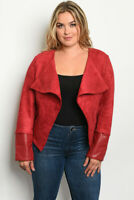 Womens Plus Size Burgundy Red Faux Suede Moto Jacket 1XL