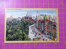 Vintage Tremont Street, Boston, Mass., USA POSTCARD Tichnor Bros Colour 14x9cm