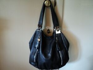 X-Large, B. Makowsky, Black, Dimpled Leather  Handbag w/Two Outside Pockets