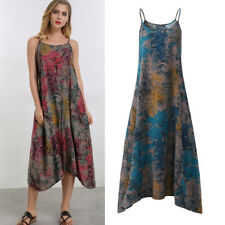 ZANZEA AU 10-24 Women Summer Loose Spaghetti Strap Floral Plus Size Maxi Dress