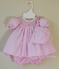 NWT Petit Ami Pink Smocked Floral Bishop 3pc Dress Preemie Baby Girls Bonnet