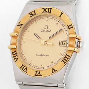 OMEGA CONSTELLATION 18K/750er GOLD-BEZEL SAPPHIRE DATE LUXUS HERREN UHR 396.1070