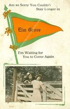 """Elm Grove OH """" I'm Waiting for You to Come again """" Elm Grove Pennant Greetings"""