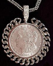 1921 Morgan Silver Dollar Necklace Silver Tone Fancy Chain Link Bezel