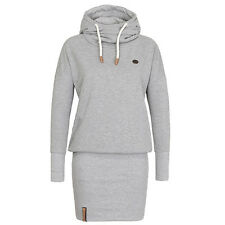 Damen Langarm Minikleid Bodycon Pullover Hoodie Sweatshirt Tunika Freizeitkleid