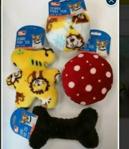 4 x shapes and colours squeeky dog toys