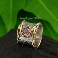 Garnet Solid 925 Sterling Silver Band Ring Meditation Ring statement Ring 133
