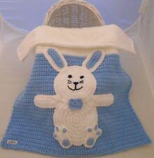Baby Blanket Hand Crochet Knitted Blue White Bunny Rabbit Moses Basket Pram