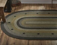 New Primitive Farmhouse Gray GREY BLACK STAR RUG Braided Jute Area 5ft x 8ft