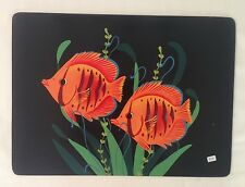 Set of 2 Place mats table setting or wall decor handmade fish artist signed NEW
