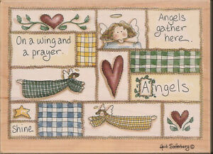 Angels Gather Here Quilt Stitched Collage Sampler Rubber Stamp