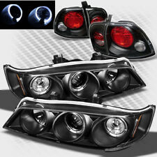 For 1996-1997 Honda Accord Twin Halo Projector Headlights+Tail Lights Lamp Set