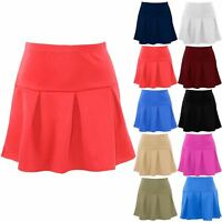 Plus Size Ladies Womens High Waist Pleated Flared Short Skater Swing Mini Skirts