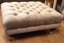 Large Deep Buttoned Footstool Laura Ashley Villandry French Grey Fabric