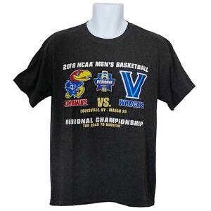 Kansas Jayhawks vs Villanova Wildcats 2016 Champion Mens T-Shirt Gray Size M