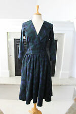 PINUP COUTURE Blue Green Jewel Tones Feather Pattern GORGEOUS Dress 8 10  M