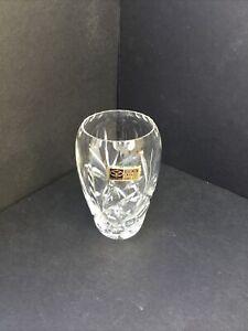 Vintage Czechoslovakia Bohemian Hand Cut Crystal Small Vase
