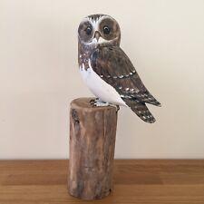 Wood Carving Archipelago Little Owl Wooden Bird D330 Hand Carved Present Gift