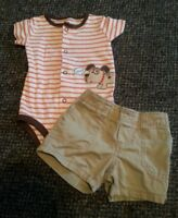 CARTER'S Striped Doggy Bodysuit and Khaki Shorts Boys Size 6 months