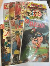 CHARLTON COMICS-LOT OF 8 -TARZAN-SPACEADVENTURES-TIME TO LOVE-SARGE STEEL