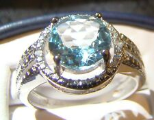 Beautiful Round Genuine Blue Topaz & Diamond Sterling Silver Sz 7 Cocktail Ring