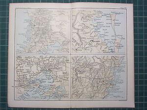 1887 ANTIQUE MAP ~ AUSTRALIA CITY ENVIRONS ADELAIDE MELBOURNE SYDNEY BRISBANE