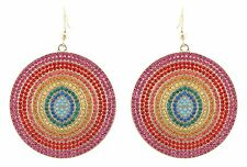 Zest Swarovski Crystal Disk Earrings for Pierced Ears Rainbow Coloured