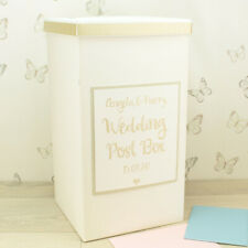 Personalised Champagne Gold Sparkle Glitter Wedding Card Post Box