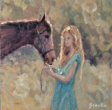 "Sean Wu, Original 8x8"" oil on canvas board, horses"