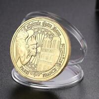 Notre Dame de Paris Gold Plated Commemorative Coin Souvenir Collection Art Gifts