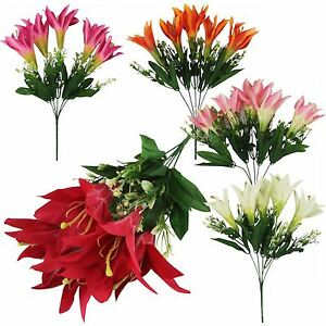 Bouquet of 5 Stargazer Lilies - Artificial Silk Flowers Fake Bunch Bouquet