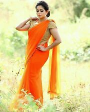 Fancy designer Bollywood party wear beautiful orange colour fancy saree