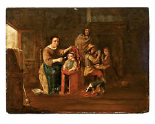 Antique Flemish Old Master oil on panel painting,David Teniers the Younger