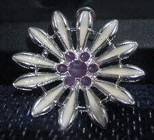 Great silver tone metal pendant flower cream petals and purple center 1¾ ins