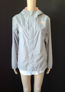 THE NORTH FACE Girls Dryvent Gray Hooded Full Zip Rain Coat Orange Trim XL - 18