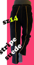 Pinstripe Suede leather pant jean 14 36 black brown gothic goth stripe racing
